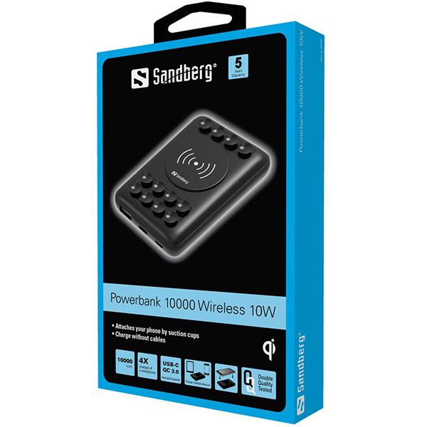 Безжична външна батерия Sandberg Wireless Powerbank 10 000mAh