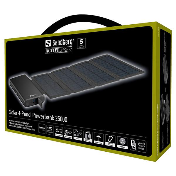 Външна батерия със соларен панел Sandberg Solar 4-Panel Powerbank 25000mAh